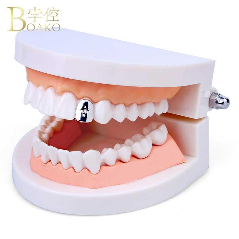 Мужские зубные грили BOAKO Rapper, с одним зубом, с золотыми зубами, в стиле панк, ювелирные изделия, Z5
