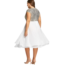 New Plus Size Women Party Dresses Robe Female Fashion Flounce Sequin Sparkly Female Dress Vestidos 5XL Big Size