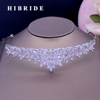 HIBRIDE New High Quality Sparkly Rhinestones Tiaras And Crown White Gold Color Bridal Hair Accessories For
