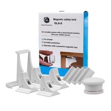 GL замки для безопасности ребенка-Магнитные защелки для шкафа | Детские проверки шкафы Системы (4 замки + 1 ключ)