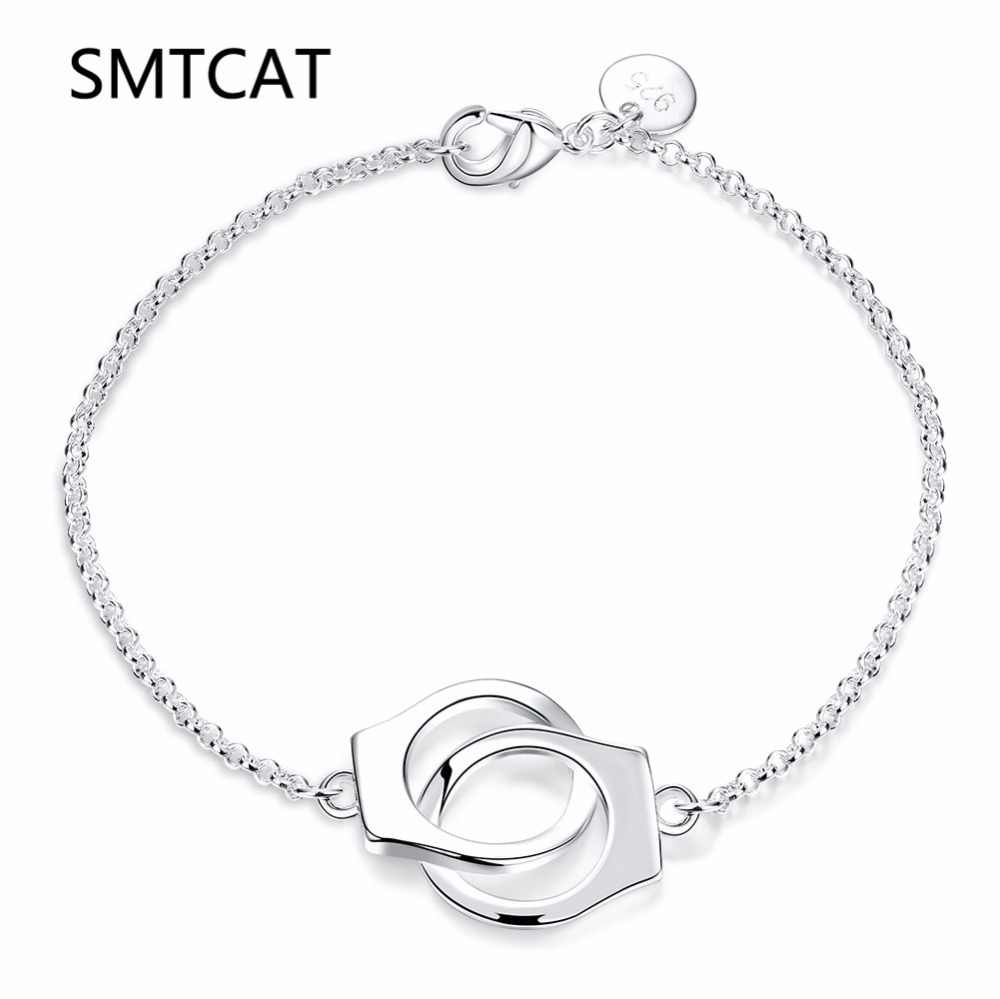 SMTCAT France Paris Jewelry 925 Genuine Silver Color Handcuffs Bracelet For Women With Rope de Prata Pendant Bracelet Menottes