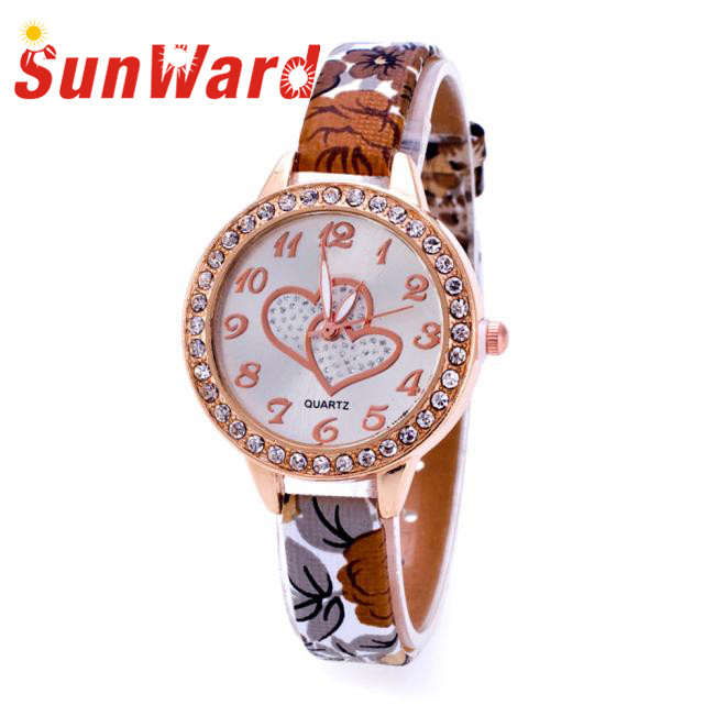 Sunward Relogio Feminino Loving Heart Women Faux Leather Strap Band Analog Quartz Wrist Watch Fashion Horloge 17Apr28 women watch relogio feminino saat clock hot high quality cat pattern leather band analog quartz vogue quartz wrist hour2017