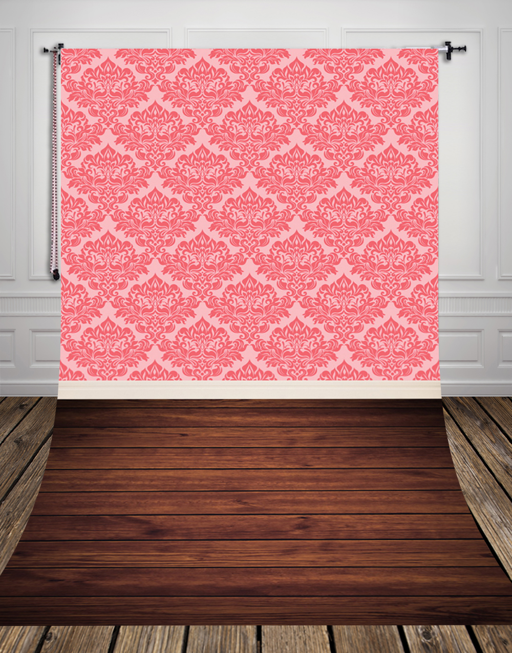Damask Wallpaper And Brown Wood