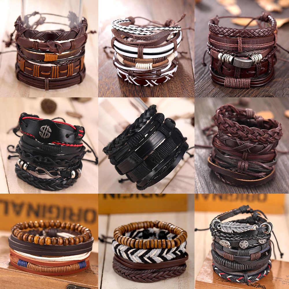 VKME винтажный Многослойный кожаный браслет Дамский мужской ювелирный браслет новый стиль вечерние подарки Богемные Дамы подарки