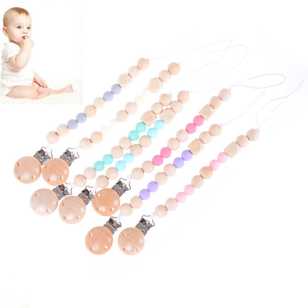 Baby Wood Dummy Pacifier Clips Bead Infant Clip Chain Strap baby Supplies LT