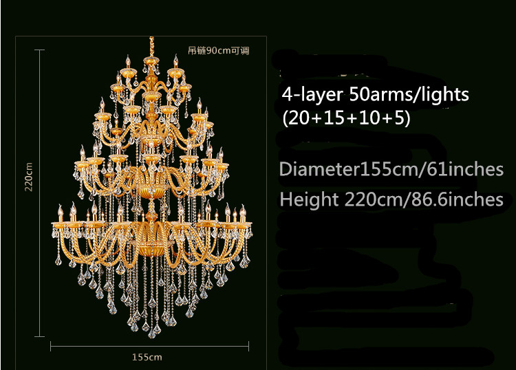Bohemia Big Large Gold Champelne Crystal Chandelier For Church Hotel - Ներքին լուսավորություն - Լուսանկար 5