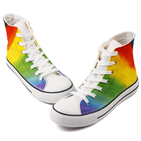 2019 Hand Paint Dye Rainbow Canvas Shoes Women High Top Lace up Vulcanizes Shoes Woman Spring Casual Shoes Sneakers