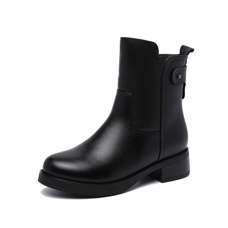 Wool Zapatos black Gran Plush Calientes Invierno Negro Inside Nuevo Cuero 2018 Antideslizantes Moda Short Mujer Elegante Tamaño Botas Mujeres Black De Confort RApzxnqnH