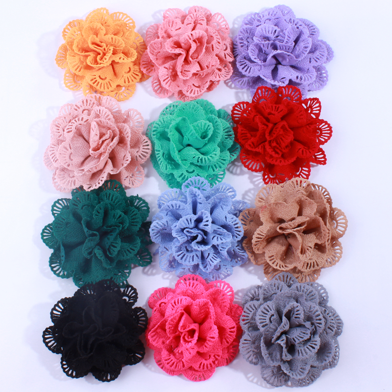 120PCS 10CM Wholesale Supply Chiffon Fabric Ballerina Flowers For Garment Boutique Eyelet Flowers For Hair Accessories