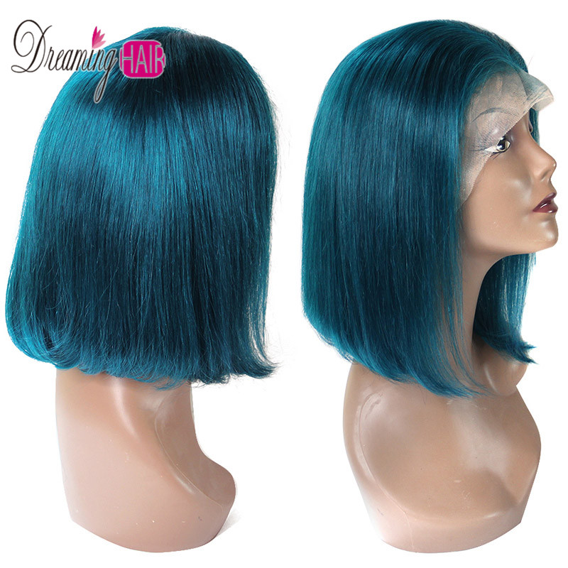 HTB1kqWNbbj1gK0jSZFuq6ArHpXa6 13x6 Blue Bob Lace Front Human Hair Wigs Pre Plucked 613 Honey Blonde Purple Green Burgundy Yellow Ombre Colored Human Hair Wigs