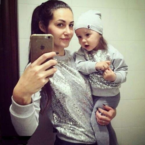 Women Kids Baby Girls Sequin Top T-shirt Blouse Sweatshirt Casual Clothes  Silver Family Matching 879377637194