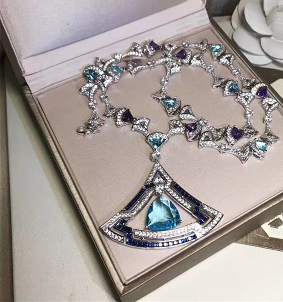 Top Brand copper Jewelry For Women Banquet Pendants Fan Necklace small skirt Necklace blue red crystal party dinner jewelry
