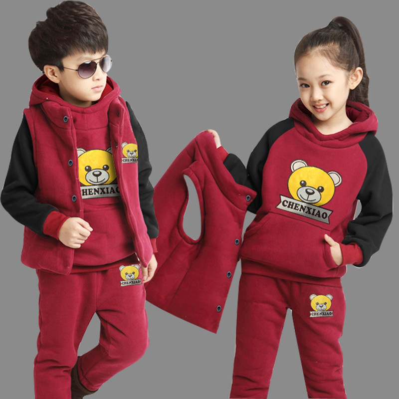 69e147b25b Lányok fiúk ruházat beállítása őszi téli kapucnis pulóver + mellény ...
