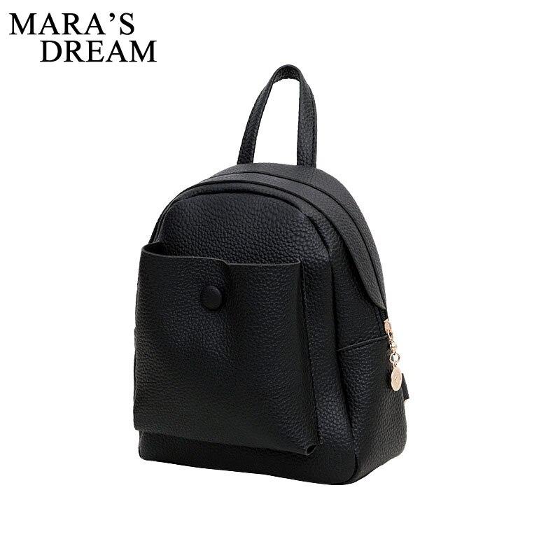 Maras Dream New Backpack Street Fashion Mini PU Backpack For Women School Student Teenage Girl Mochila Escolar Women Backpack