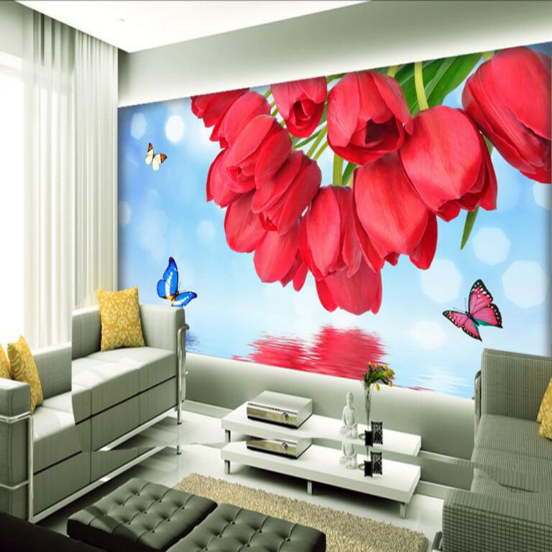 Wallpaper Flower Custom Tulip Reflection Picture Wall Paper Environment Friendly Thicken TV Background Wall Mural Embossed Study