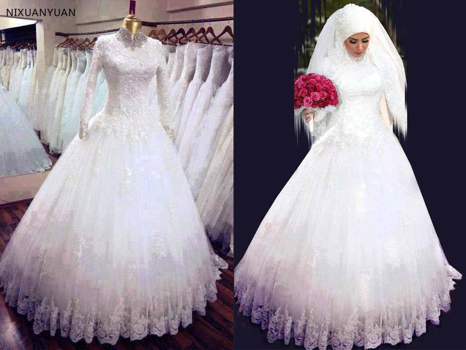 2019 Long Sleeves Muslim Wedding Dress High Neck Lace Long