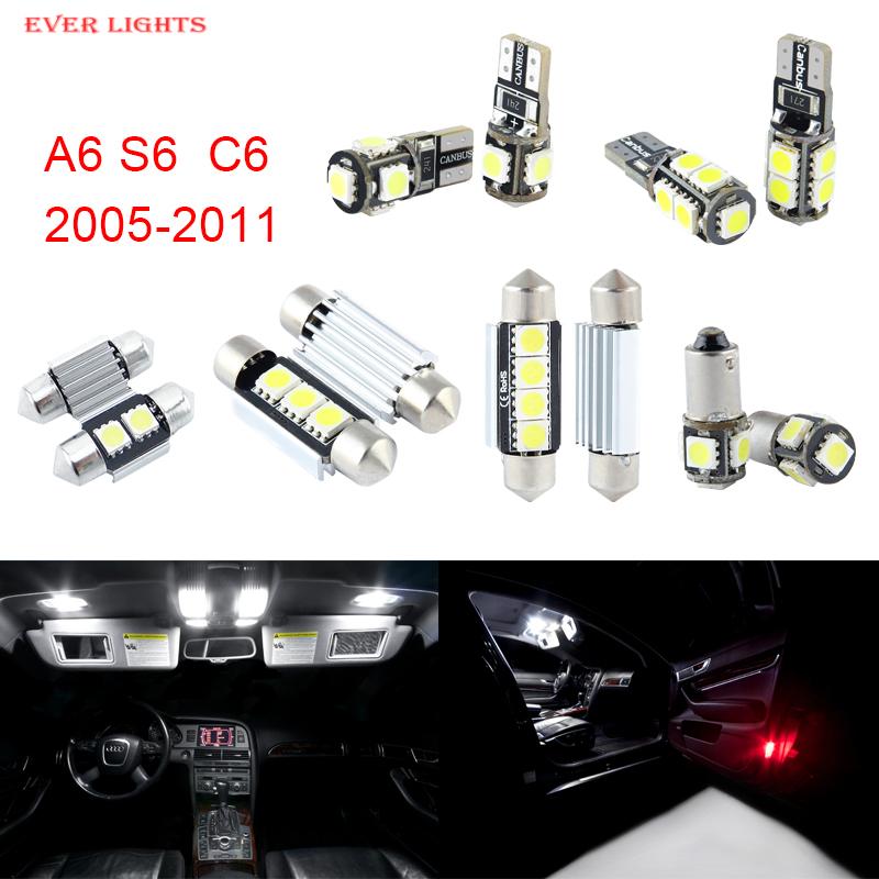 Prix pour 14 pcs LED Canbus Éclairage Intérieur Kit Paquet Pour Audi A6 S6 C6 (2005-2011)
