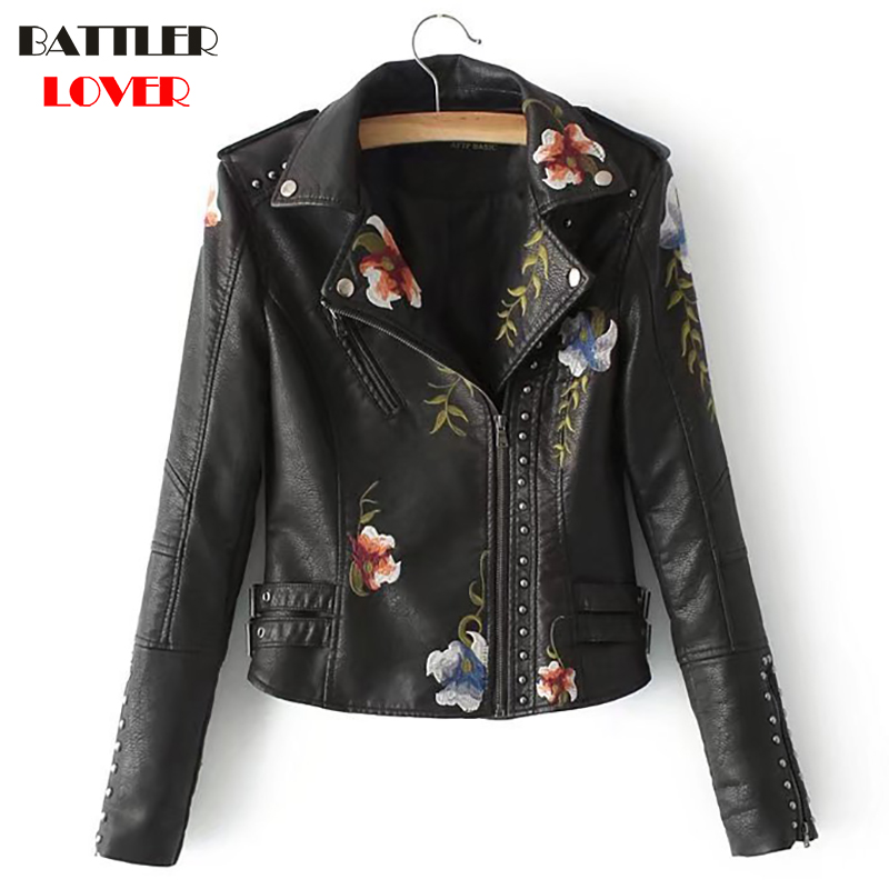 Embroiderry Flower Womens Leather Jackets Winter Jacket Women Patched Rivet Luxury Design Hip Hop Biker Jacket Mujer Femme Coats