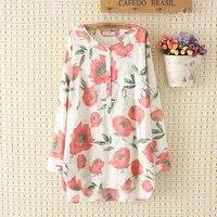 New Floral Print Long Sleeve Blouse Women Fashion Plus Size Loose Shirt Blusas Feminino Ladies