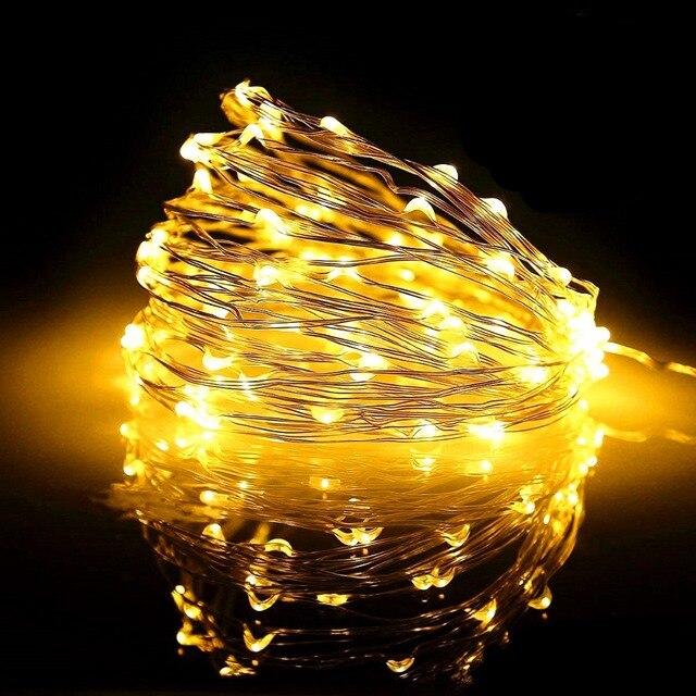 2M 5M10M Dải Đèn LED Dây Đèn Cooper Dây 3AA Pin Giáng Sinh Ánh Sáng Cho Vòng Hoa Kỳ Nghỉ Cổ Tích Tiệc Cưới trang Trí