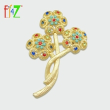 Brooches Flower-Pin Rhinestone Women Fashion-Luxurious F.J4Z for Colorful Gorgeous
