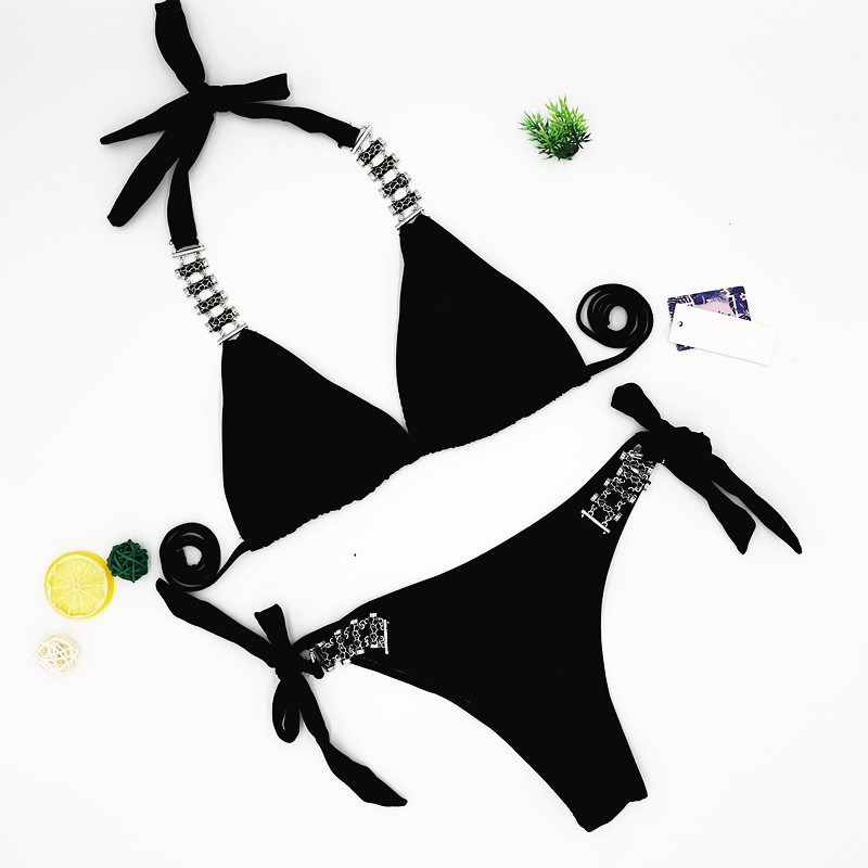 Sexy Bikini 2018 New Bathing Suit Swimwear Women Brazilian Bikini Set Swimsuit Metal decoration bandage Knot solid Biquini 2