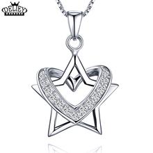 DELIEY Temperamento Estrella Del Corazón de Las Mujeres Collar Colgante de 100% Plata de Ley 925 Joyería de Moda Día de San Valentín de Regalo(China (Mainland))