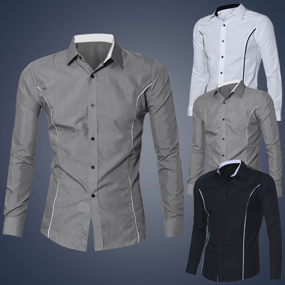 Shirt new design 2015 - Feitong 2015 New Design Brand Clothing Mens Luxury Long Sleeve Casual Slim Fit Stylish Dress Shirts Chemise Homme Plus Size Xxl