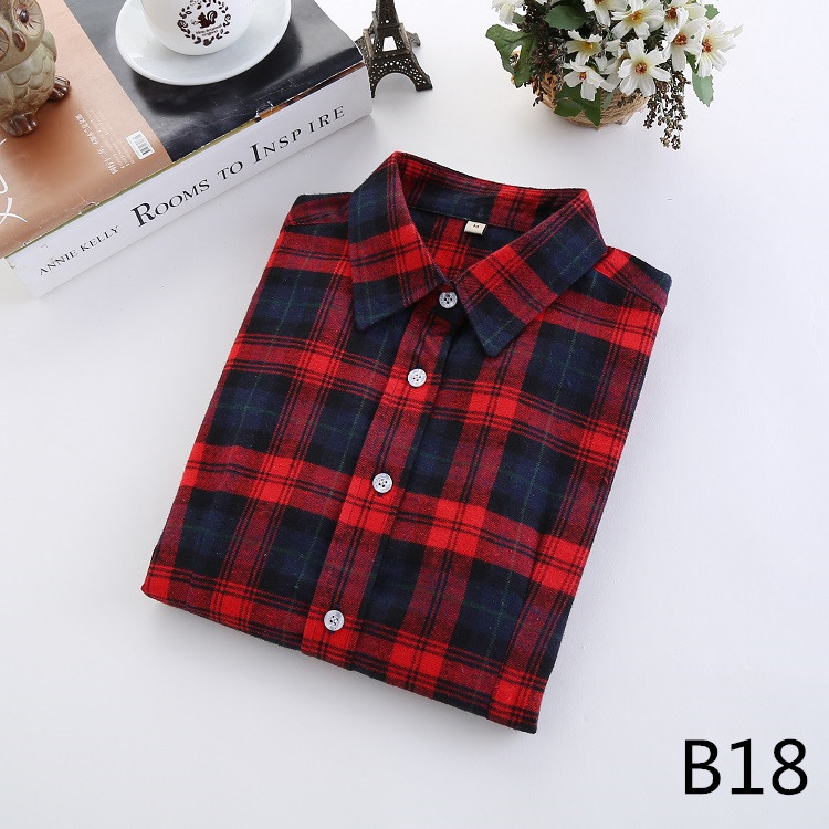 2018 Fashion Plaid Shirt Female College Style Women's Blouses Long Sleeve Flannel Shirt Plus Size Casual Blouses Shirts M-5XL 36