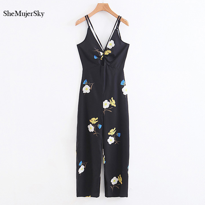 SheMujerSky Black   Jumpsuits   For Women 2018 Floral Sleeveless Rompers Womens Ankle-length   Jumpsuit