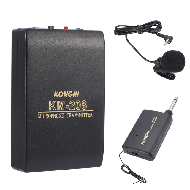 Mayitr 1pc Wireless FM Transmitter Receiver KM-208 Lapel Clip On Microphone Mic System Set for Wedding Meeting