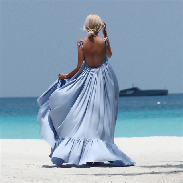 f9960a0addf01 Aliexpress.com : Buy Womens Summer Dress 2018 New Brand Boho Solid Maxi  Sexy Sleeveless Long Backless Dress Evening Party Beach Dress Femme  Vestidos ...