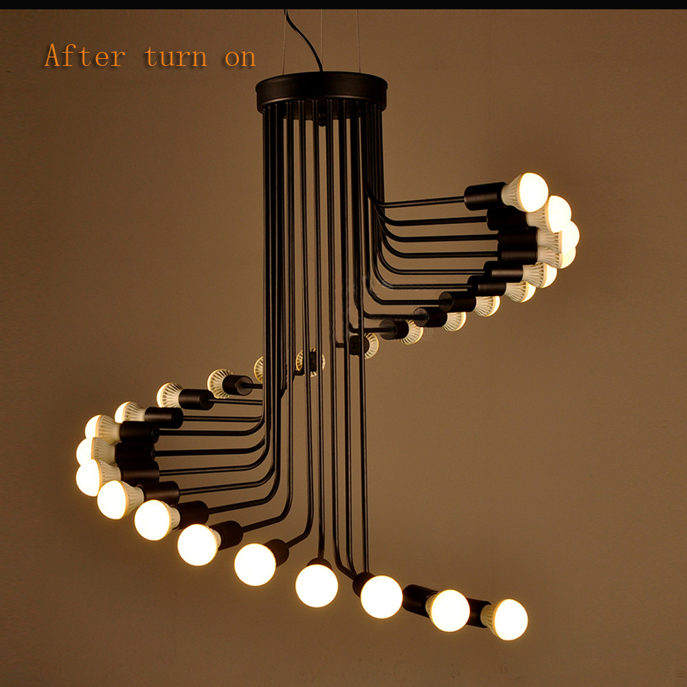 American country loft retro pendant light minimalist Coffee Museum wrought iron bar restaurant spiral staircase lamp nordic american country loft minimalist restaurant bar balcony aisle trumpet glass bell crystal chandelier lamp light lighting