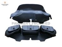Black 6 Motorcycle Windshield Bag Saddle 3 Pouch Pocket Case For Harley Davidson Touring 1996 2013