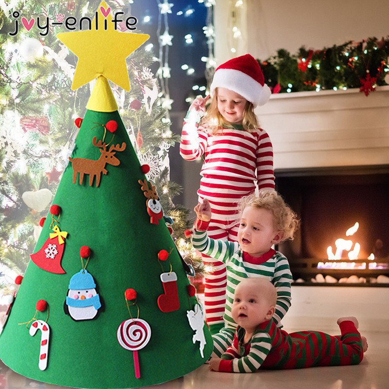 joy enlife 3d diy felt toddler christmas tree new year kids gifts toys artificial tree xmas home. Black Bedroom Furniture Sets. Home Design Ideas