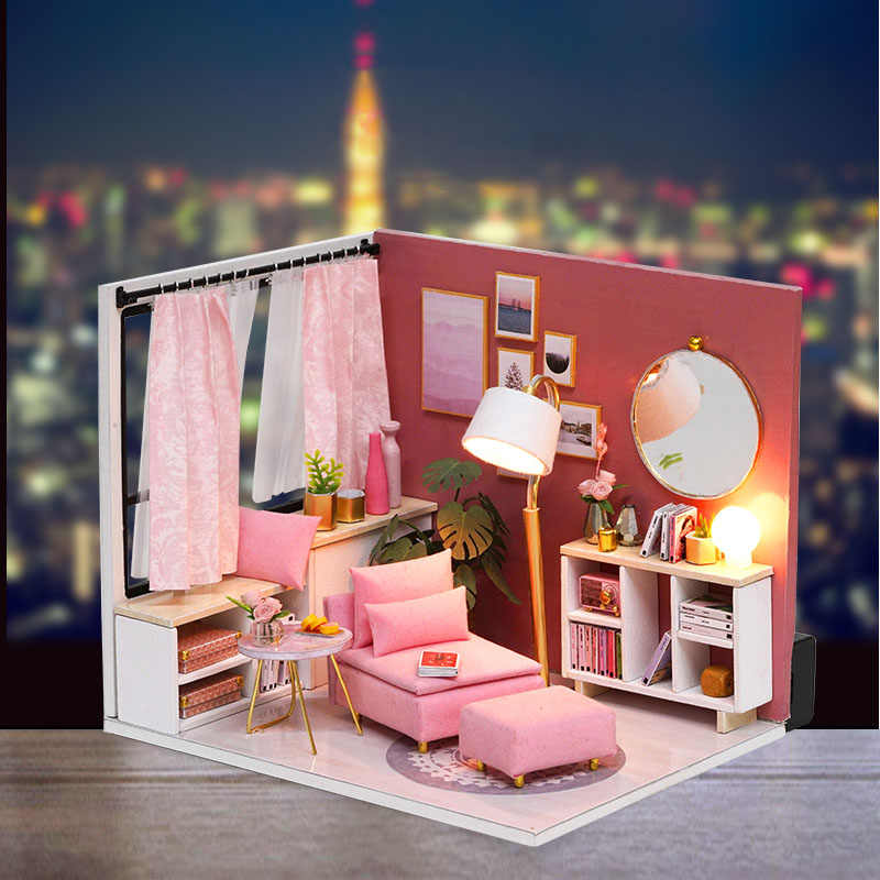 Assemble Puzzle Kits 3d Miniaturas Doll House Furniture Wooden Diy Dollhouse Miniature Dollhouse Toys For Children Birthday Gift