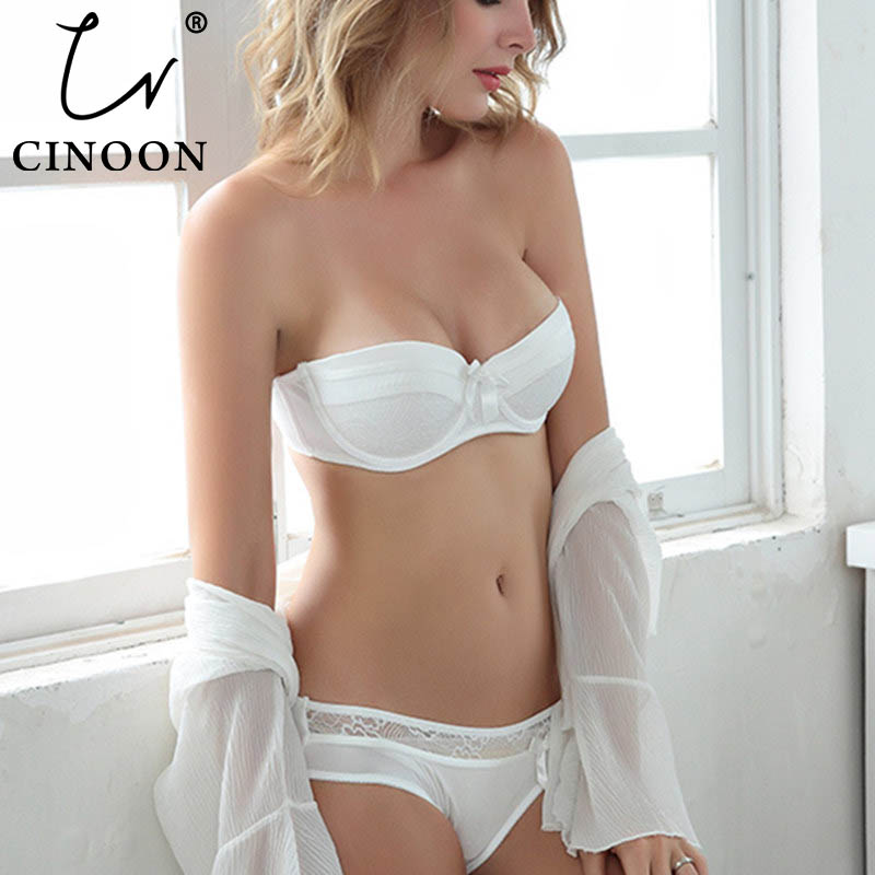 CINOON 2019 NEW Lace Bow Lingerie Set 1/2 Cup Sexy Intimates Push Up Bra Set Underwear Floral Embroidery Lace Women Bra Panty