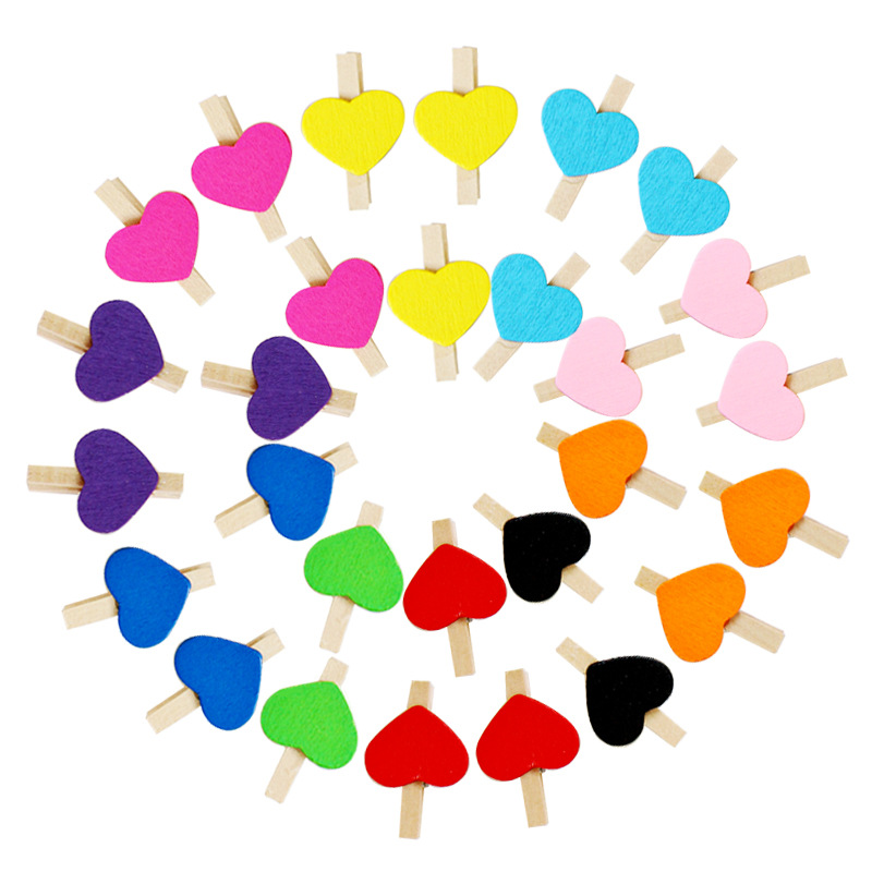 200pcs lot Wholesale small Size 3x0 4cm love colorful Spring Wood Clips for Clothespin Craft Decoration Clip Photo Clips Pegs in Garment Clips from Home Garden