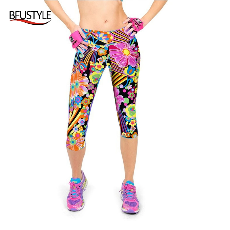 Ladies Pants Floral Printed Leggings Summer Sexy Pencil Trousers Sports Women Running Clothes