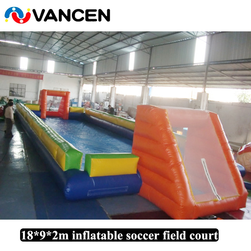 18*9*2m Inflatable football field court water soccer arena field soap soccer football pitch field