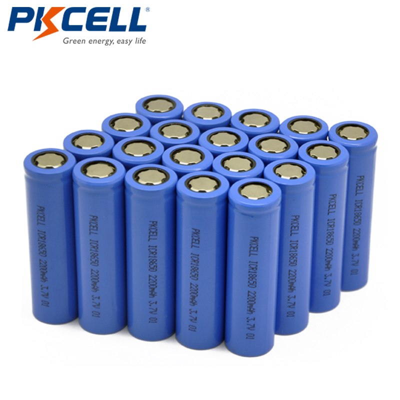 Wholesale 20Pcs lot PKCELL 3 7V 2200mAh 18650 Rechargeable Li ion Lithium Battery Batteries For LED