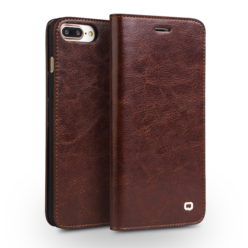 Caso qialino para iphone 7 handmade carteira de couro genuíno case para iphone 7 plus luxo ultra slim coldre flip