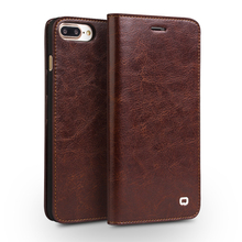 QIALINO Case for iPhone 7 Handmade Genuine Leather Wallet Case for iphone 7 plus luxury Ultra Slim Flip holster