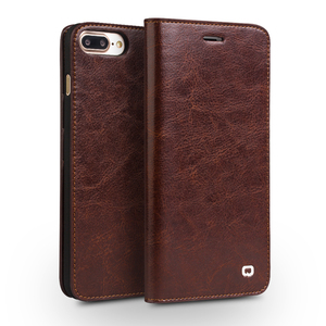 Image 1 - QIALINO Case for iPhone 7 Handmade Genuine Leather Wallet Case for iphone 7 plus luxury Ultra Slim Flip holster