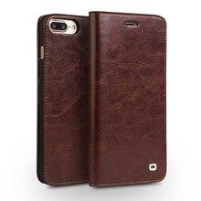 Qialino caso para iphone 7 artesanal de couro genuíno caso carteira para iphone 7 plus luxo ultra fino aleta coldre