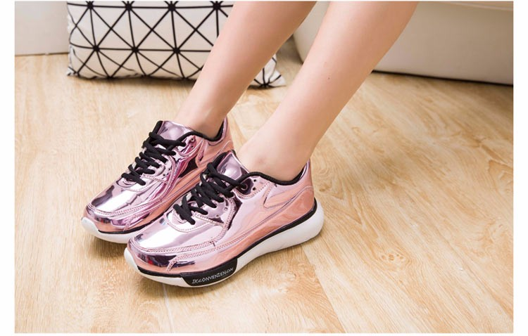 Mirror Surface Women 90 Casual Shoes Fashion Spring Lace Up Platform Womens Shoes Low Top Lace Up Trainers Women Gold Shoes YD52 (31)