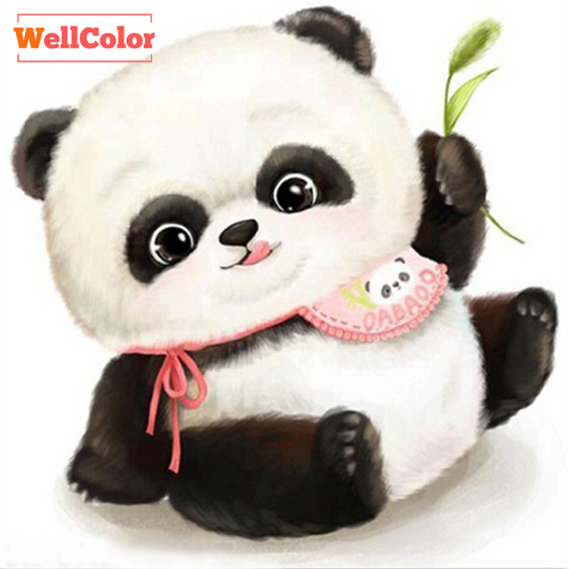 RUBOS Cruz lindo panda cartoon patrones completos mosaico 5d Diy ...