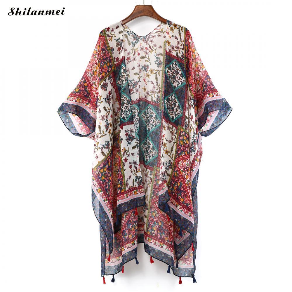 Bohemian Irregular Printed Kimono Cardigan 2018 Summer Women Blusas Vintage Loose Boho   Blouse     Shirts   Long Beach Top Outerwear