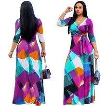 V neck Belt long sleeve Sundress floral long Dress plus size maxi dress sexy casual Vestidos de festa Green Tropical Beach dress цена