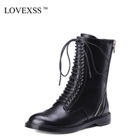 LOVEXSS Woman Genuine Leather Riding Boots Black Autumn Winter Lace Up Martens Boots Zipper Chelsea Punk